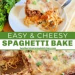 Casserole dish of cheesy spaghetti bake with serving removed, slice of cheesy spaghetti bake on plate with bite on fork.
