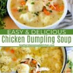 Top view of chicken dumpling soup in pot with ladleful and white bowl full of soup.