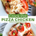 Crock pot pizza chicken on white platter with melted cheese, pepperoni and a bite of chicken and pepperoni on fork.