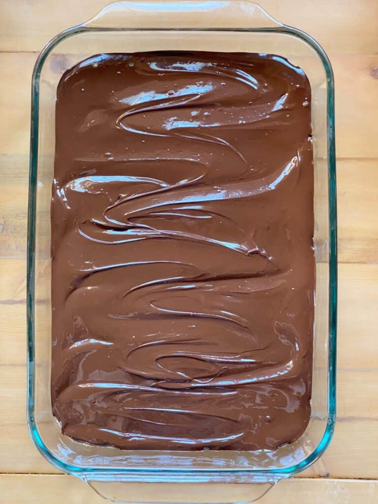 no bake peanut butter bars with chocolate topping.