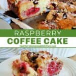 Slices of raspberry coffee cake on white round plate with bite on fork and on spatula.