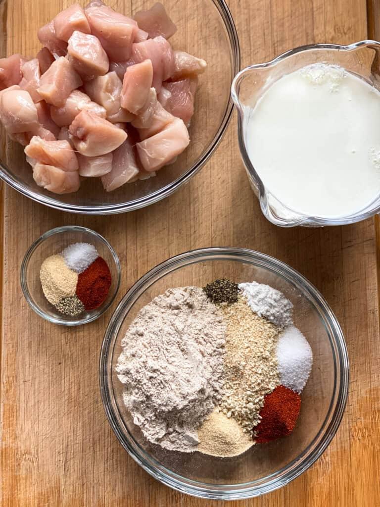 Air fryer chicken nuggets ingredients.