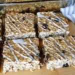 Banana Chocolate Chip Oat Squares on board in rows.