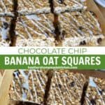 Banana chocolate chip oat squares on board with top view of bars.
