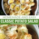 Top view and close up view of classic potato salad in white bowl with wood serving spoon.