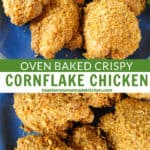 Close view and top view of crispy corn flake chicken on blue plate with tongs for serving.