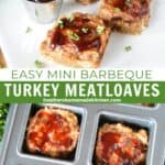 Mini bbq turkey meatloaves on square with plate with extra bbq sauce in sauce cup and meatloaves in brownie pan.