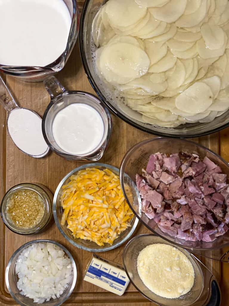 Scalloped potatoes and ham ingredients.