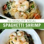 Close up and top view of easy spaghetti shrimp in white bowls.