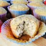 Strawberry Banana Muffins with bite showing inside.