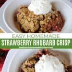 Close up and top view of easy strawberry rhubarb crisp in white bowl with scoop of vanilla ice cream on top.