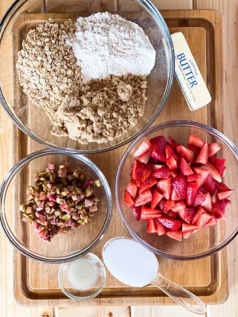 Ingredients for strawberry rhubarb crisp.