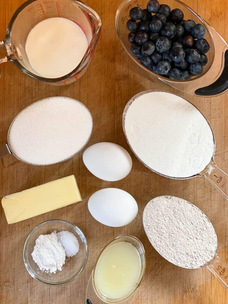 Blueberry sweet bread ingredients.