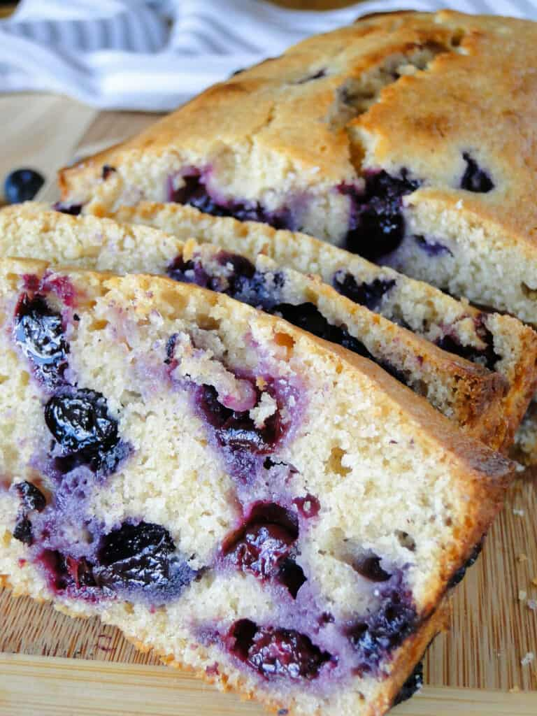 Close up view of slices from blueberry sweet bread.