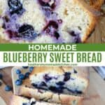 Close view and front view of sliced blueberry sweet bread.