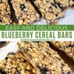 Blueberry cereal bars sliced and in rows on parchment paper with close up view of sides of bars.