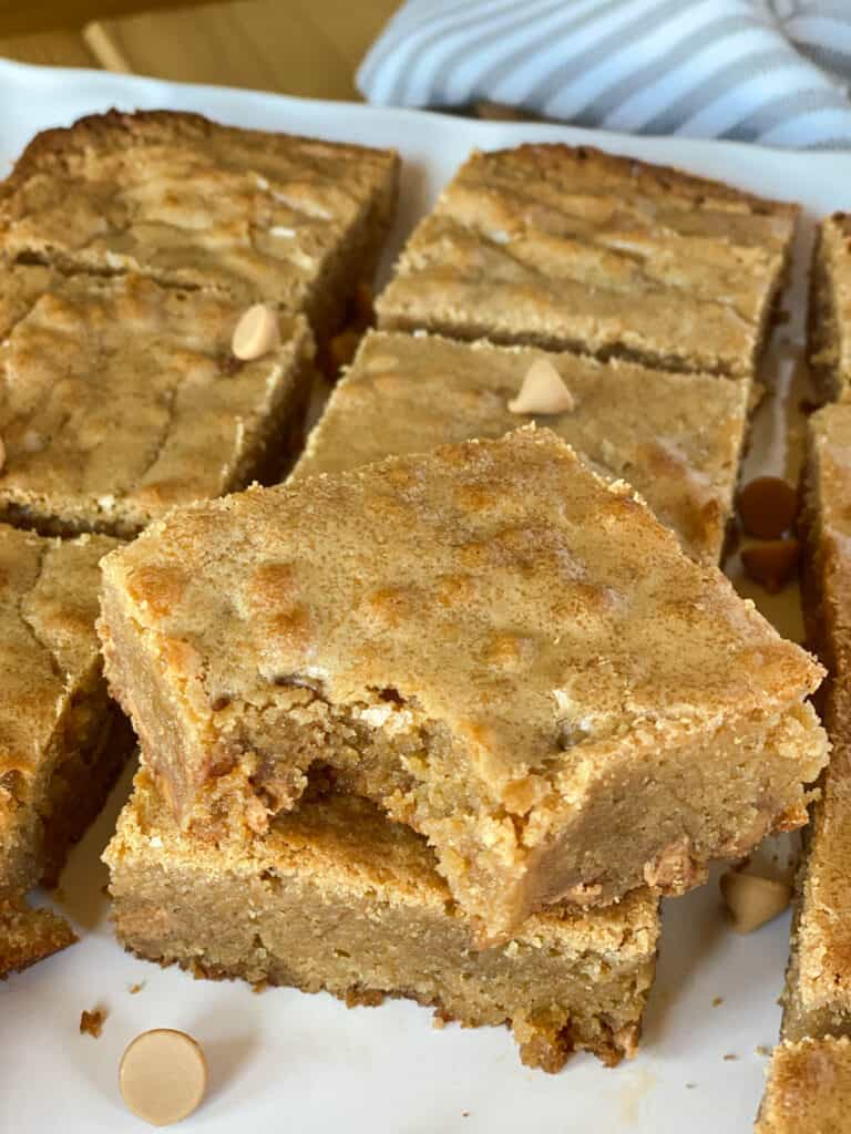 Close up view of butterscotch brownies showing chewy centers.