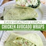 Close view and top view of chicken avocado wraps cut in half on white round plate.