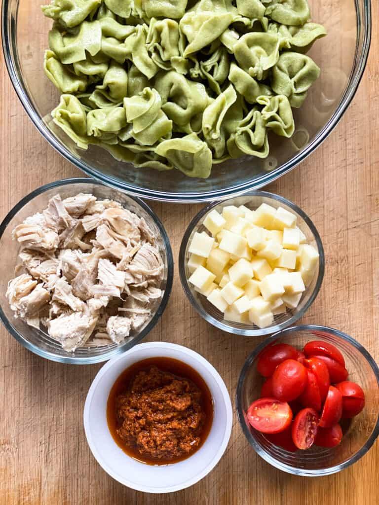 Ingredients for chicken tortellini salad.