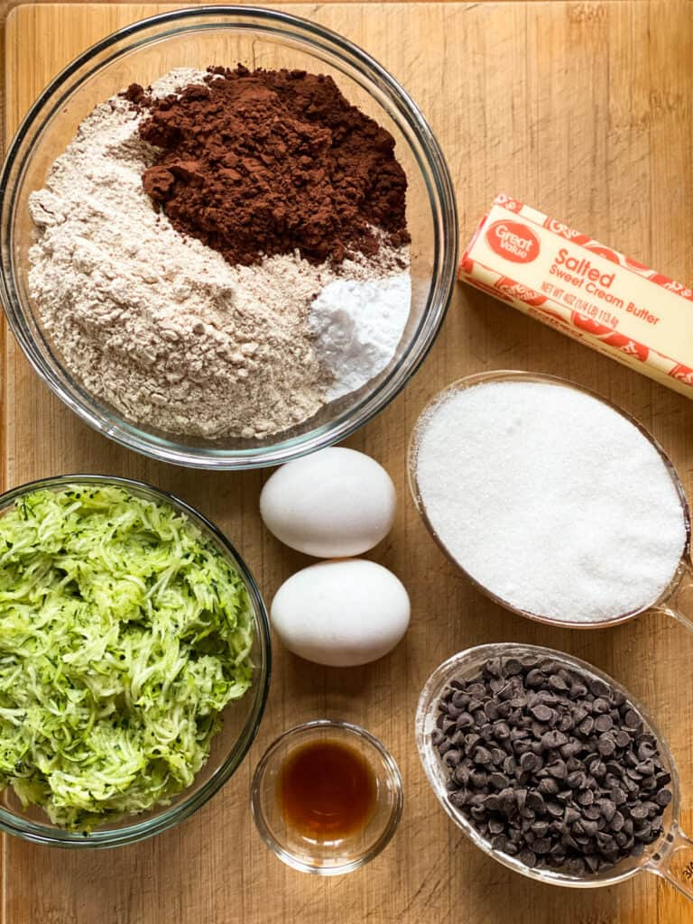 Ingredients for chocolate zucchini muffins.