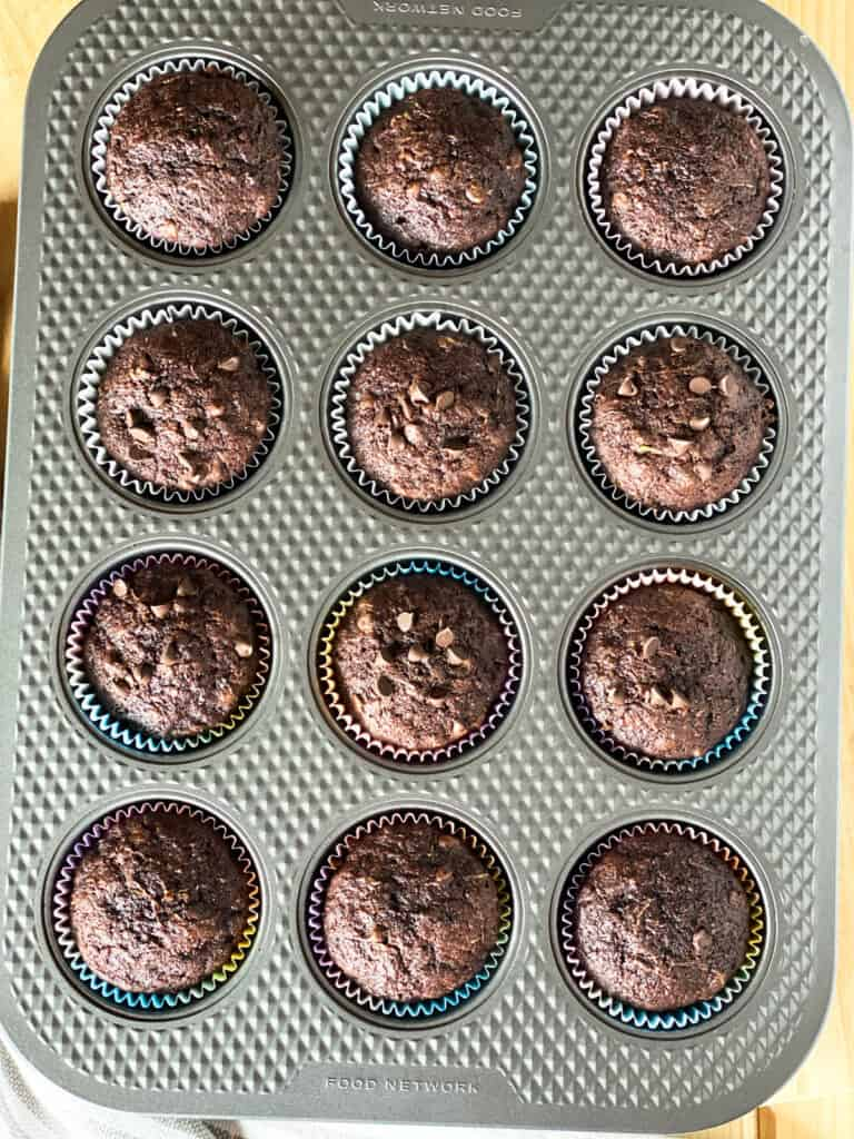 Baked muffins in muffin pan.