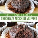 Close up view of chocolate zucchini muffins with bite taken out and paper liners off.