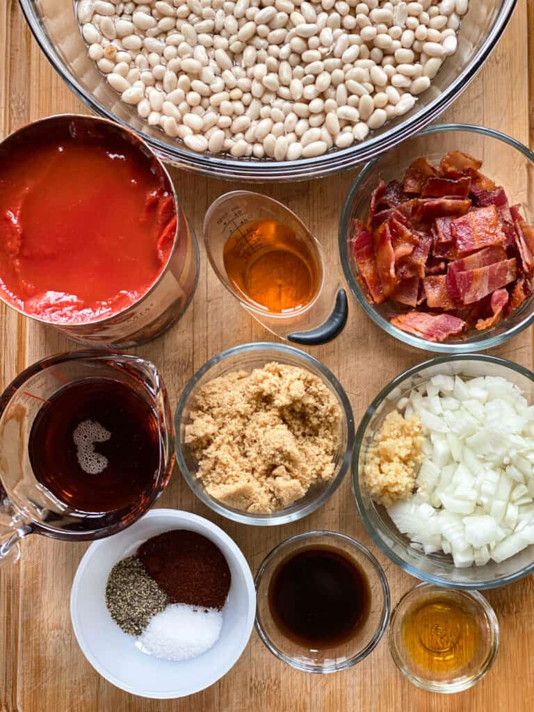 Ingredients for crock pot baked beans.