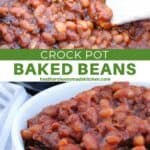 Spoonful of crock pot baked beans on wooden spoon and bowlful of beans.