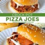 Crock pot sloppy joes on a sesame bun on white round plate.