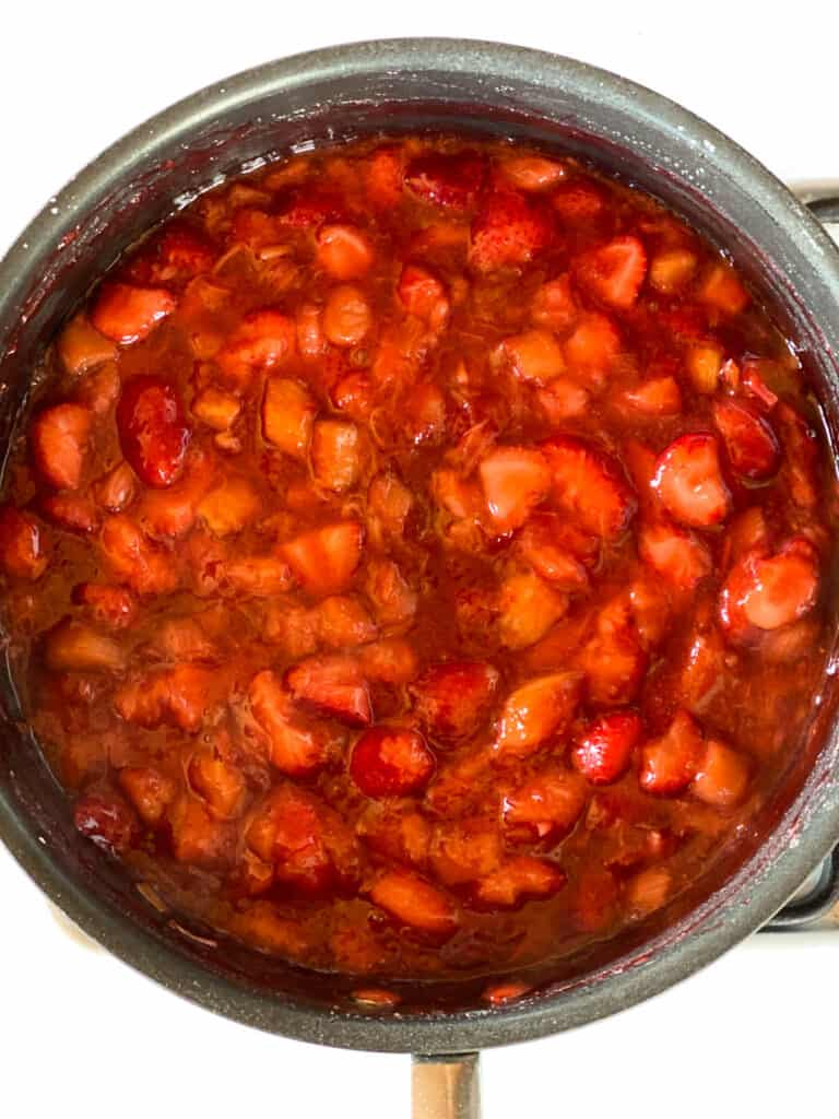 Filling ingredients cooked and thickened.
