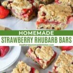 Side view and top view of sliced strawberry rhubarb bars.