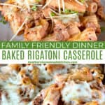 Baked rigatoni casserole on white round plate and being scooped out of casserole dish with wooden spoon.