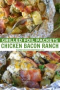 Chicken bacon ranch foil packets opened on a sheet pan and a bite of potato and chicken on fork.