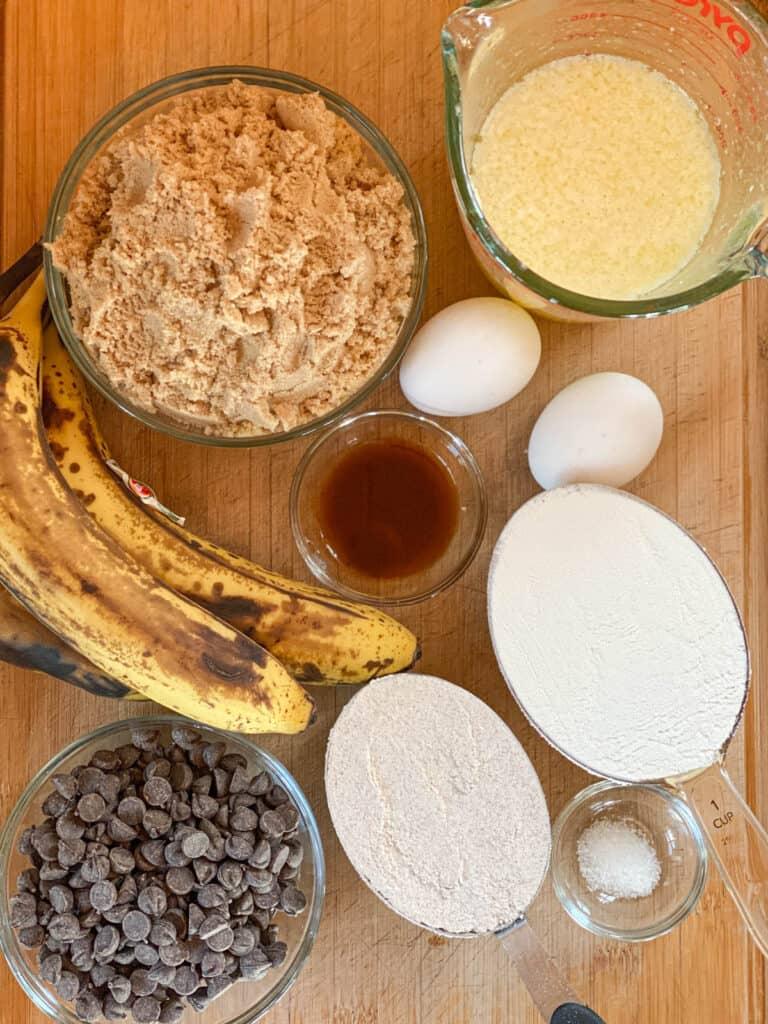 Chocolate chip banana blondies ingredients.