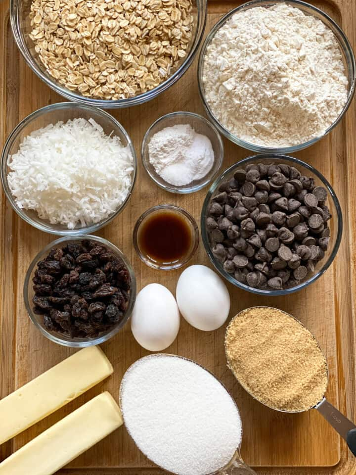Cowboy cookies recipe ingredients.