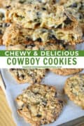 Cowboy cookies stacked with top cookie broken in half showing chewy center and in rows on parchment lined cookie sheet.