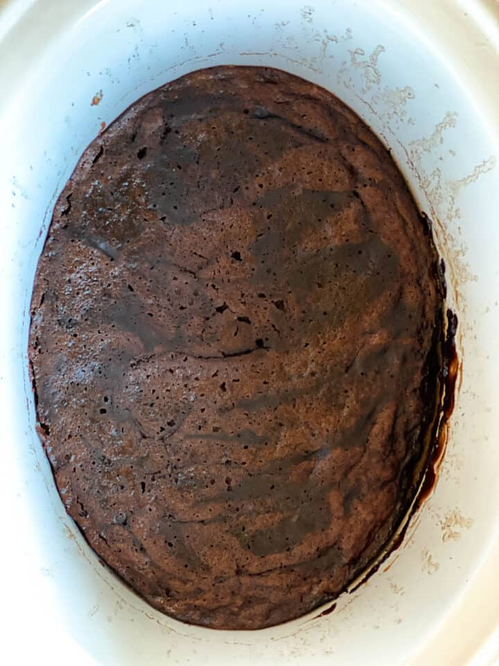 Chocolate lava cake ready to be served from crock pot.