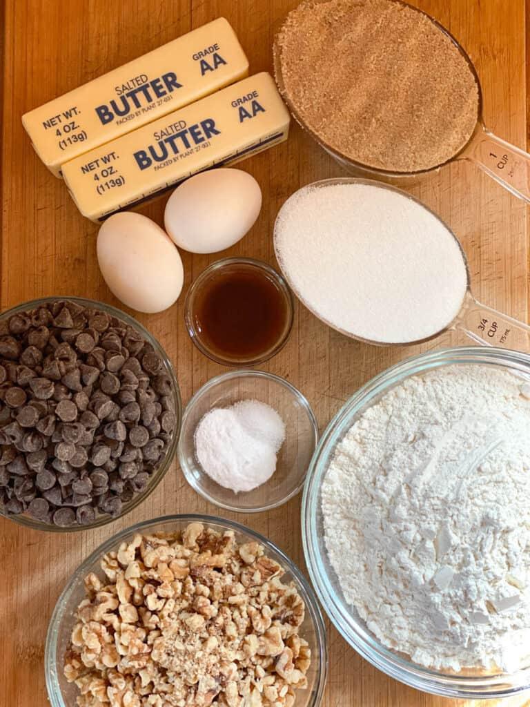 Jumbo chocolate chip cookie ingredients.