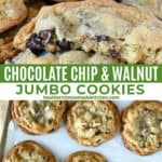 Jumbo chocolate chip cookies on sheet pan and piled on plate with one cookie broken in half showing the chewy center.