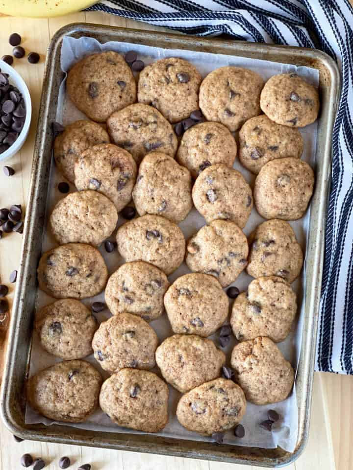Top view of banana chocolate chip cookies on sheet pan.