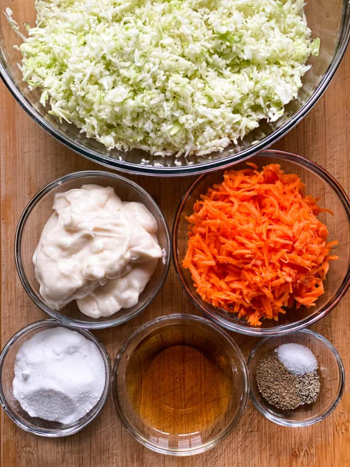 Homemade cole slaw ingredients.