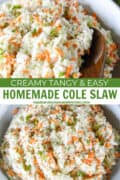 Top view of homemade cole slaw in white serving bowl and with wooden serving spoon.