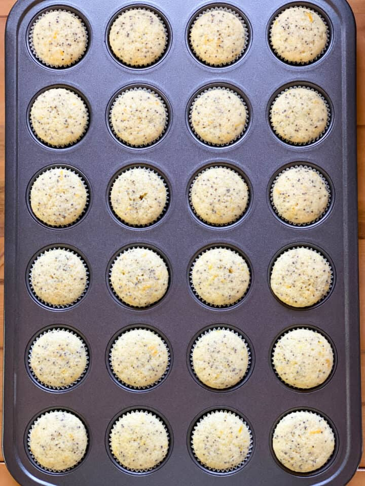 Baked muffins in mini muffin pan.