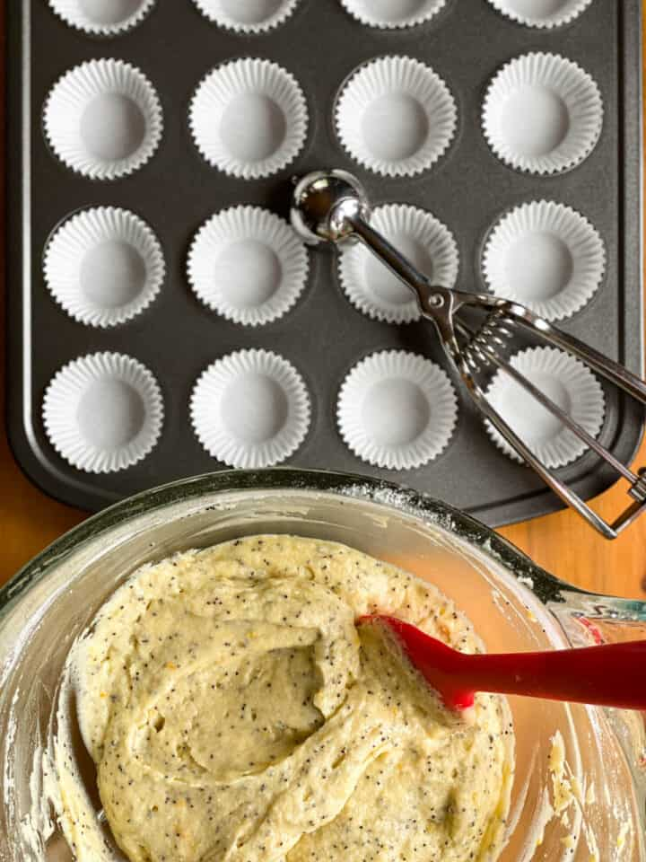 Meyer lemon poppy seed muffin batter ready to be scooped into mini muffin pan with paper liners.