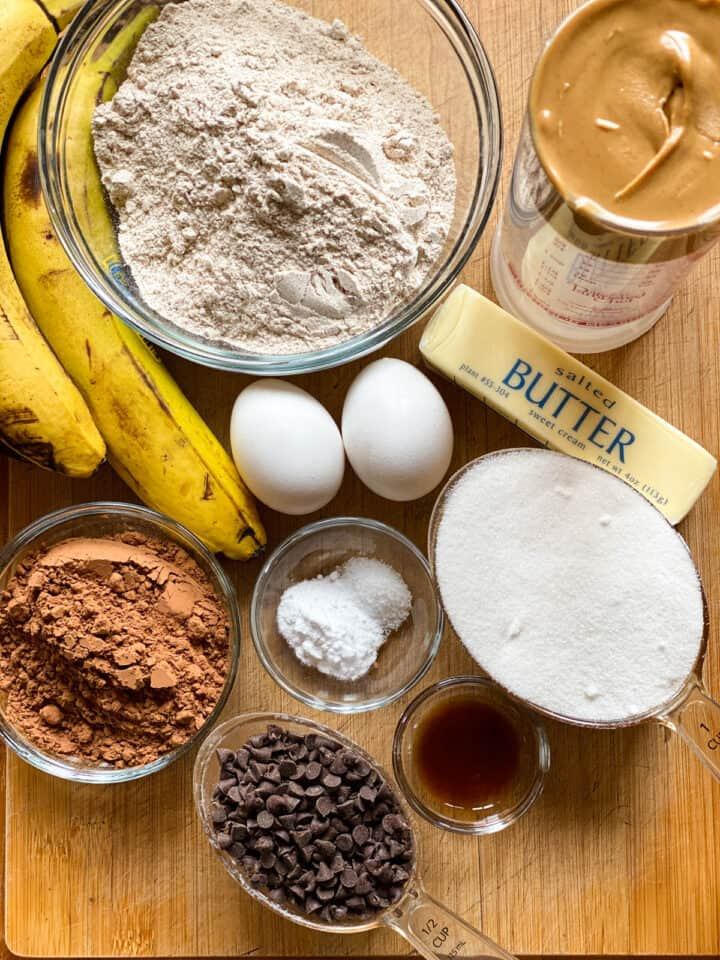Peanut butter banana chocolate muffins ingredients.