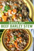 Close up view of crock pot beef barley stew in a round yellow bowl with spoon and top view of stew in bowl.