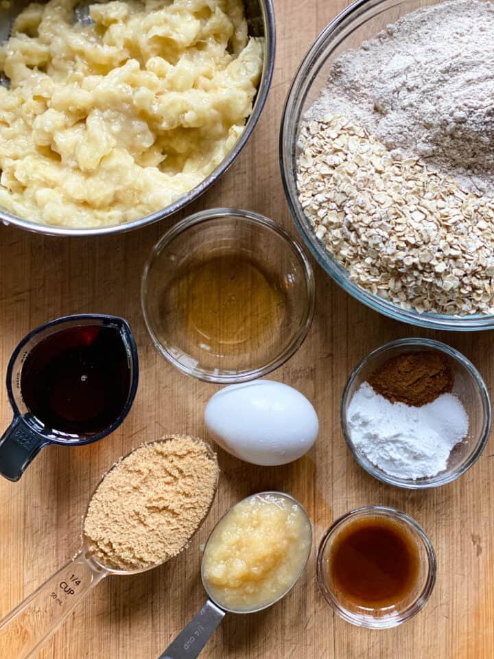 Oatmeal banana breakfast bread ingredients.