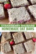 Sliced strawberry rhubarb oat bars on board.