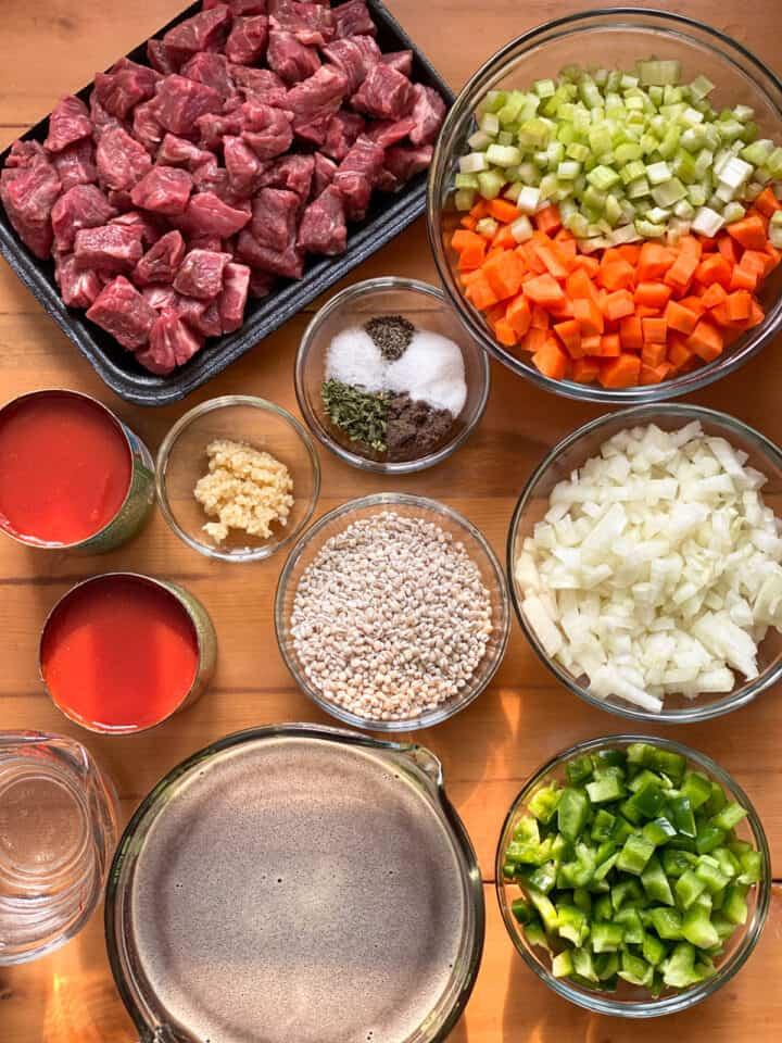 Crock pot beef barley stew ingredients.