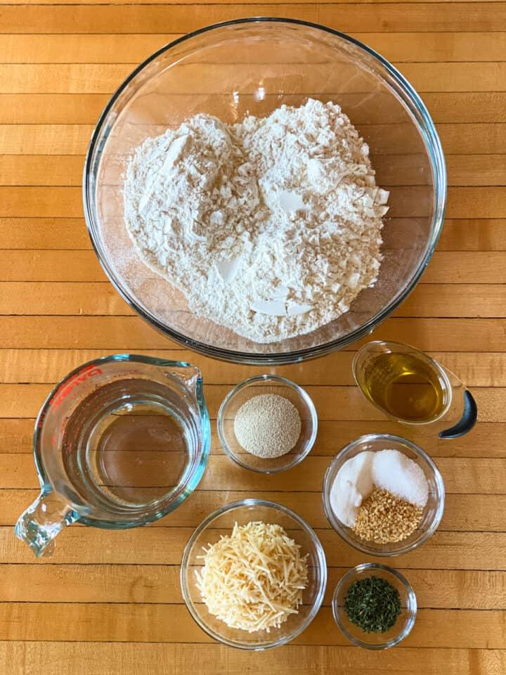 Garlic parmesan focaccia bread ingredients.